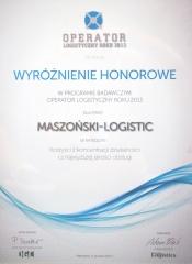 Ehrenbelobigung Logistikbetreiber  des Jahres 2013